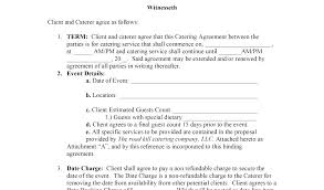 Catering Agreement Catering Agreement Template Template Catering Contracts Free