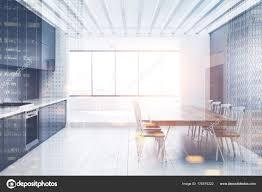 Weiß Grau Küche Esszimmer Innenraum Getönt Stockfoto
