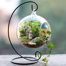 Lawn & Garden Adorable Crystal Flower Vase Air Plant Hanger Planter Glass  Globe Terrarium Flat Bottom