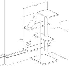 wall mounted cat tree thor scandicat. Cat Tree - Drawing Wall Mounted Thor Scandicat R