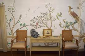 Casart coverings Chinoiserie Mural Panels Color-Silver Raw Silk Room  View_temporary wallpaper