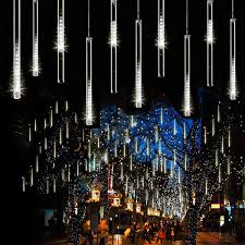 Led Icicle Drip Lights In Motion Syka Falling Rain Lights White Meteor Shower Lights With 11 8 Inch 8 Tubes 144 Leds Rain Drop Lights Outdoor Icicle Snow Cascading Christmas String