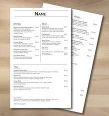 Free Menu Templates Terraslate Paper