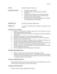 Substitute Teacher Job Description For Resume Duties Of A Substitute