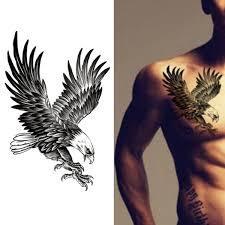 Temporary Tattoos Waterproof Male Traditional Black Eagle Flower Arm Tattoo Eagle Wings Eagle Fake Tattoo