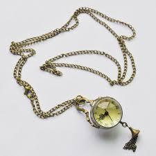 w6 vintage style glass ball steampunk pocket watch antique brass necklace