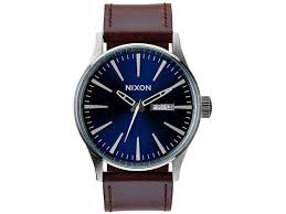 nixon a1051524 men s sentry leather blue brown og watch brown leather band round