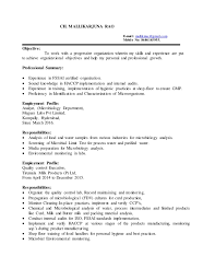 Resume of Microbiologist with 4 years experience. CH. MALLIKARJUNA RAO  E-mail: mallikmsc@gmail.com Mobile No: ...