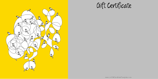 printable gift certificate templates gift certificate template in yellow and grey pictures of birds sitting on an abstract drawing customize