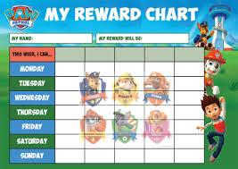 Paw Patrol Kids A4 Reward Sticker Chart