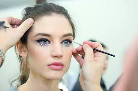 chanel sequin eyes chanel spring summer haute couture makeup backse application