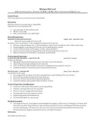 Criminal Justice Resume Custom Sample Resume Objectives Psychology And Resume Samples Objective