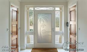 Beautiful Glass Front Door Designs Entry Doors Etched Palm Sunset Sans Soucie For Design Inspiration