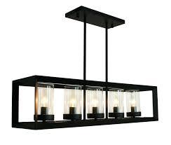 rustic modern rectangular chandelier kitchen island pendant black finish