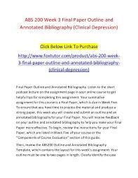 Annotated Bibliography Template Abs 200 Week 3 Final Paper Outline And Annotated