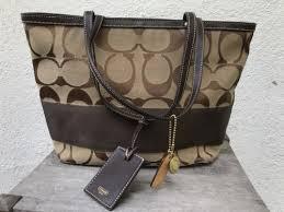Coach Signature Handbag Medium Brown Logo Tote Bag Purse Shoulder C06k-10124
