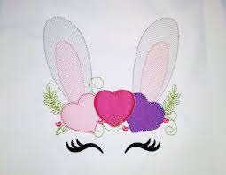 Bunny Face Embroidery Design Sketch Light Stitch Bunny Face With Heart Hearts Crown