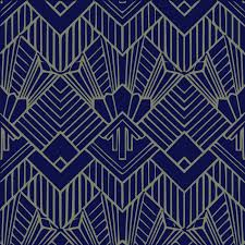 blue art deco wallpaper uk