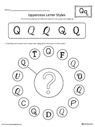 Uppercase Letter Q Styles Worksheet