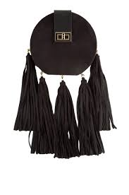 front view circle fringe purse in black