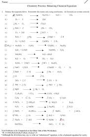 balancing chemical equations worksheet answer key template samples problems 50 answ