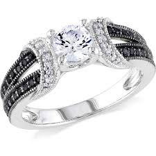5 8 Carat T G W Created White Sapphire And 1 4 Carat T W Black Wedding Rings With Black And White Diamonds