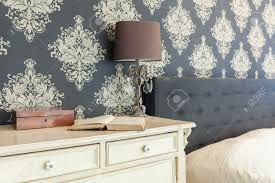 Patterned Wallpaper For Bedrooms Close Up Of Patterned Wallpaper In Retro Interior Stock Photo