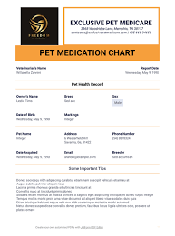 Medication Chart Template Free Download Pet Medication Chart Template Pdf Templates Jotform