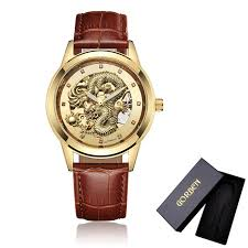 soft leather mens mechanical wrist watch dragon pattern laser engraving carving pattern gold black business men male watches wrisch ping