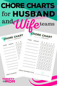 Chore Charts For Adults Printable Adult Chore Charts For Husbands Wives Thrifty Little Mom