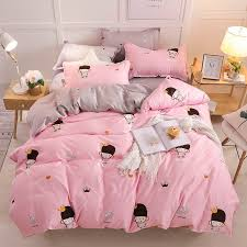 2019 style pink amy bedding sets duvet cover bed set pillowcase flat sheet king queen double full twin bed sheet red duvet covers gingham bedding from