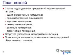 Презентация на тему Общестенное питание Организационная  2 План