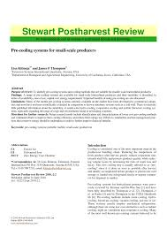 Pdf Pre Cooling Systems For Small Scale Producers