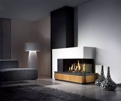 Decorations:Impressive Living Room Decorating Ideas With A Corner Fireplace  Featuring Grey Fabric Sofa Also