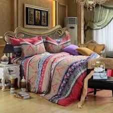 red brown bohemian pattern bedding set