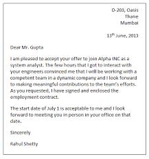 Offer Letter Acceptance Mail Format Job Acceptance Letter Sample