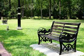 Empty Park Bench Stock Photo, Picture And Royalty Free Image ...