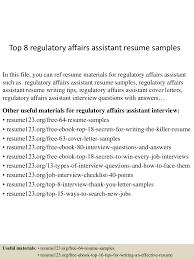 Top8regulatoryaffairsassistantresumesamples 150530035321 Lva1 App6892 Thumbnail 4 Jpg Cb 1432958053