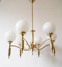 Kronleuchter Messing Mit Glaskugeln Sechsarmig Hängelampe 1950er Jahre Mid Century Lampe