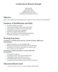 Summary Of Qualifications Bartender Resume Templates Example Resumes