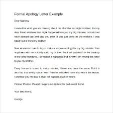 Apologize Sample Letters Sample Formal Apology Letter 7 Download Free Documents In