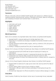 Certified Forklift Operator Resume Sample