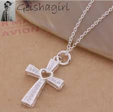 details about women s 925 sterling silver cross necklace chain clear crystal heart pendant uk