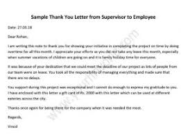 Thank You Letter From Supervisor To Employee Hr Letter Formats