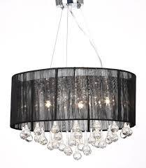 black organza shade black drum glass crystal chandelier lamp pendant lighting