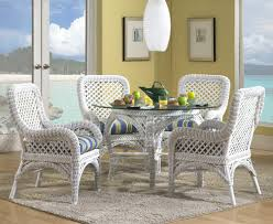 plush rattan dining room table and chairs kitchen 4 wooden white wicker furniture used