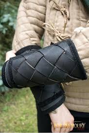 viking leather bracers black