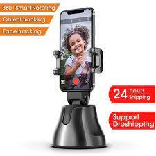 Akıllı taşınabilir Selfie sopa, 360 ° dönme otomatik yüz nesne izleme  kamera tripodu tutucu akıllı çekim cep telefonu kamera yatağı Live Tripods