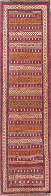 hand woven geometric kilim shiraz persian runner wool rug 3x9