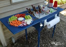 here s an awesome old sewing machine table idea diy it into a food and beverage